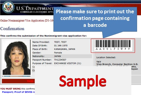 Ds 160 Nonimmigrant Visa Application Form Sample, Please Make Sure To Print Out The Ds160 Confirmation Page Containing A Barcode, Ds 160 Nonimmigrant Visa Application Form Sample